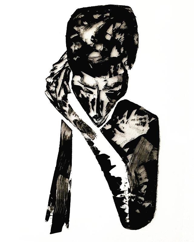"Shadow: ""1"" (2020), acrylic on clear smooth pvc, 70x100 cm"
