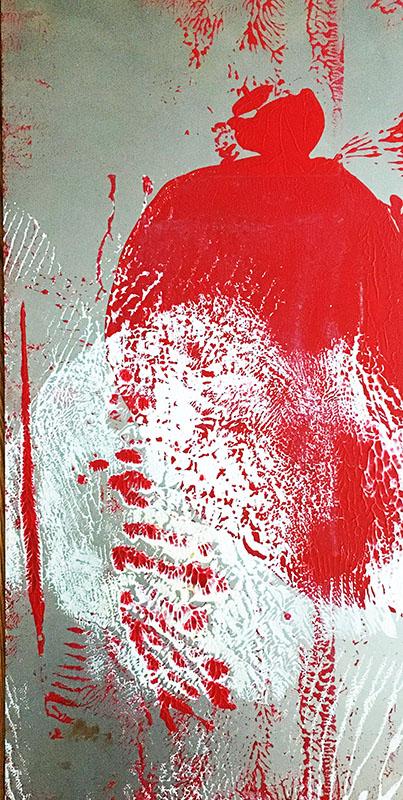 "Tracks: ""White, Red""acrylics on zinc (2020), 70 x 30 cm"
