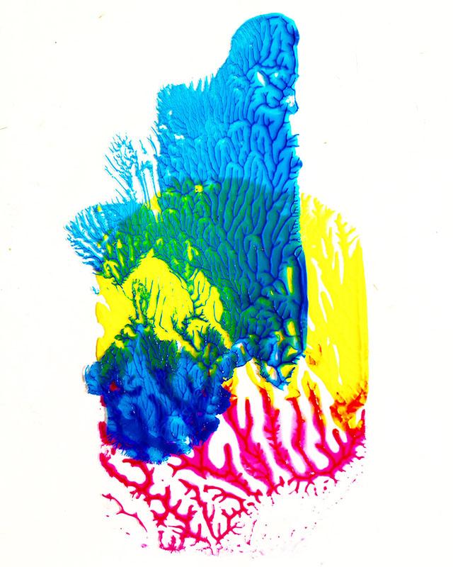 "Tracks: ""Colorful"", acrylics on pvc,(2020), 15 x 11 cm"