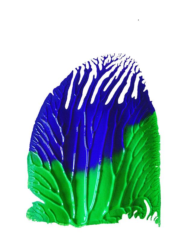 "Tracks: ""Purple, Green""acrylics on pvc (2020), 15 x 11 cm"