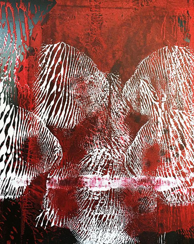 "Tracks: ""Red, White"" (2020), acrylics on Black Kapa Graph, 50 x 70 cm"