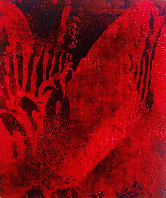 "Track: ""Red Z"" (2020),acrylic on black zinc, 10 x 10 cm"
