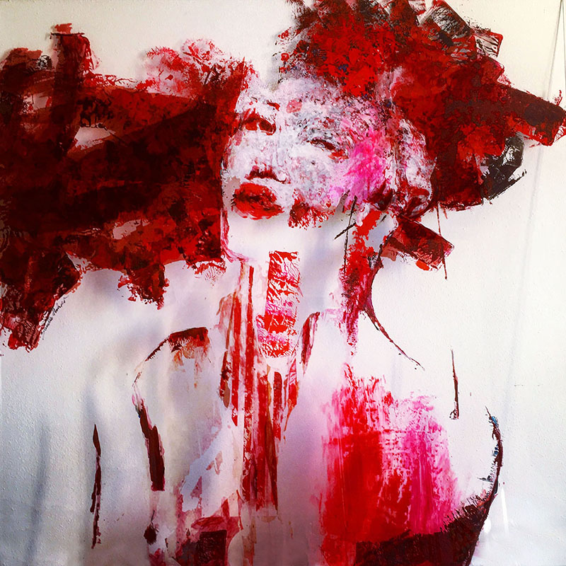 """Who are you today: """"Rouge"""", 2018, 100x100 cm"""