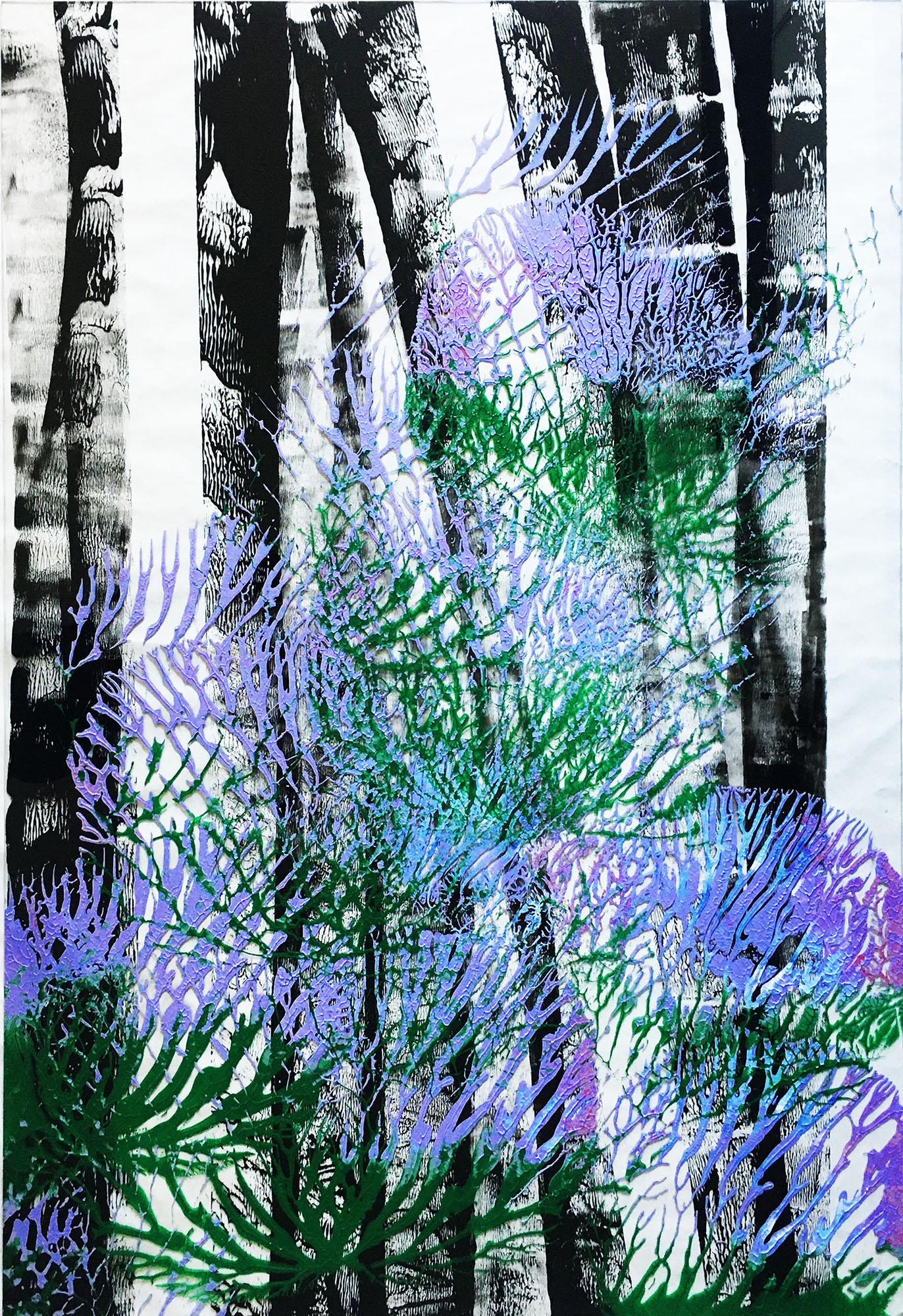 """Abstracts: """"Imprints, Bark"""", acrylics on trasparent Plexy,70x100 cm,2021"""