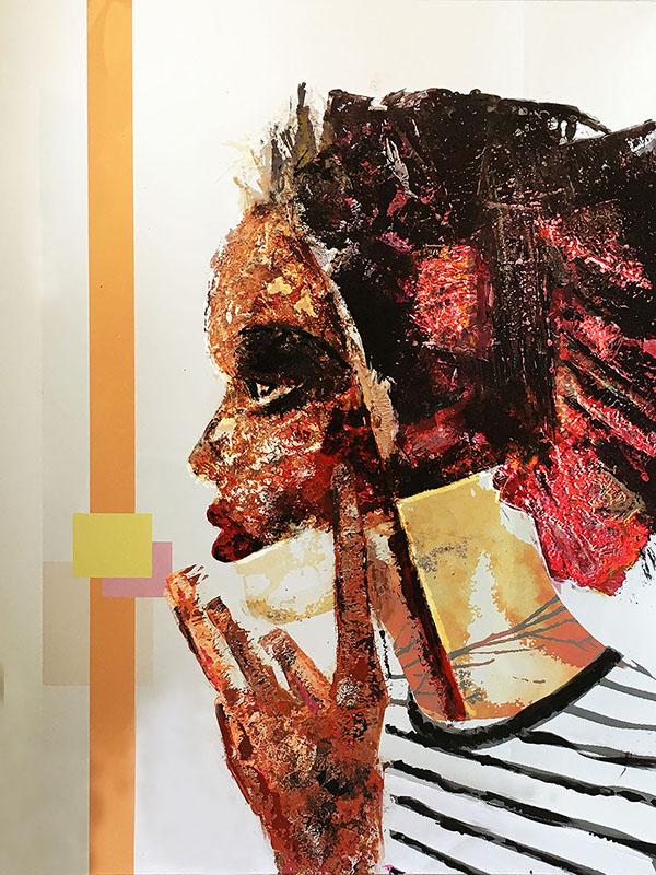 "Who are you today?: ""BlackPurple"",acrylics on methacrylate 2016, 70x50 cm"