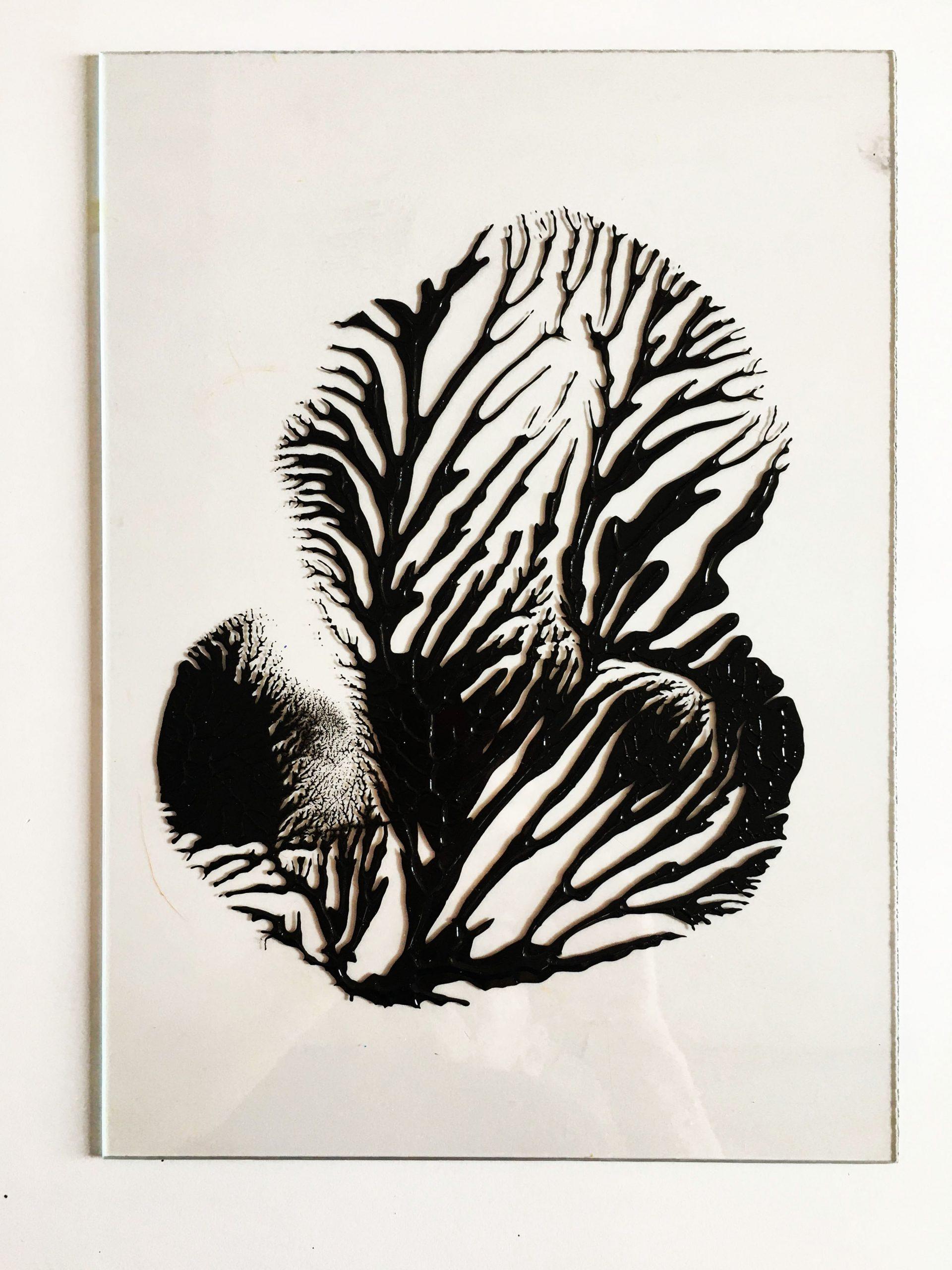 """Abstracts: """"Black,Imprints"""", acrylics on trasparent Plexy,21 x 29,7 cm,2021"""
