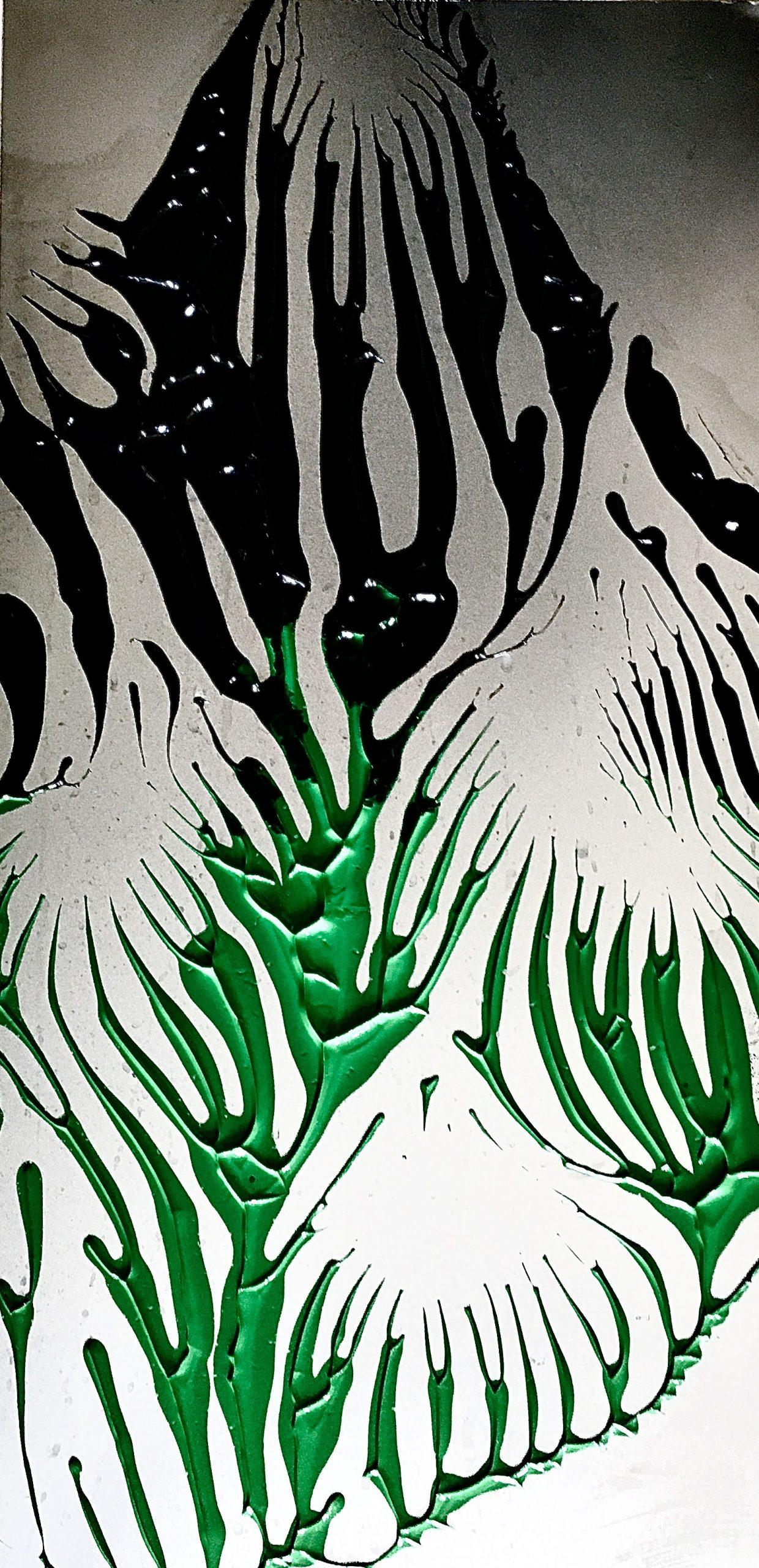 "Abstract:Imprint, Roots1"", acrylics on zinc, 50 x 25 cm, 2021"
