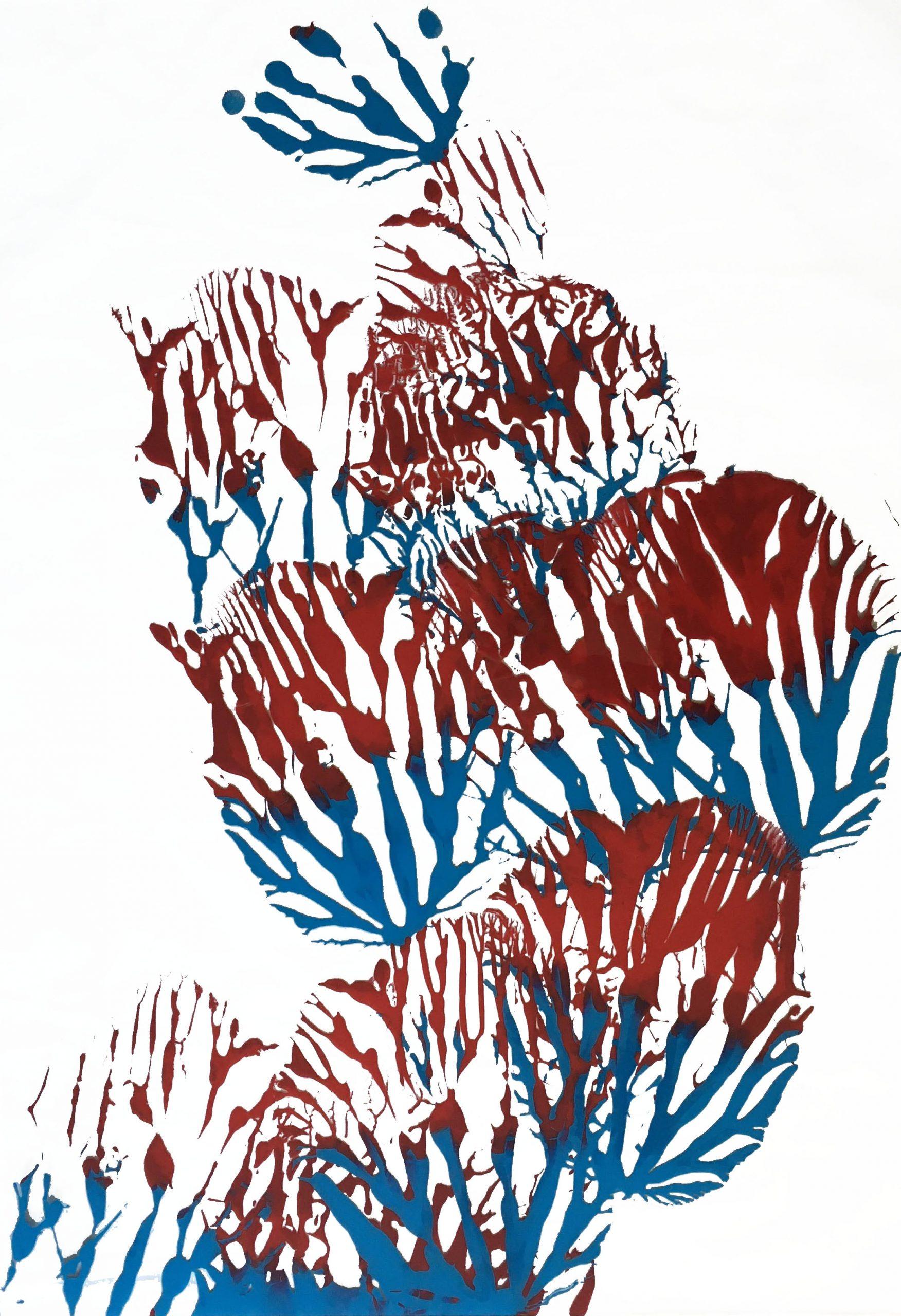 "Abstracts: ""Imprints, Flower3"", acrylics on trasparent Plexy, 100 x 70 cm, 2021"