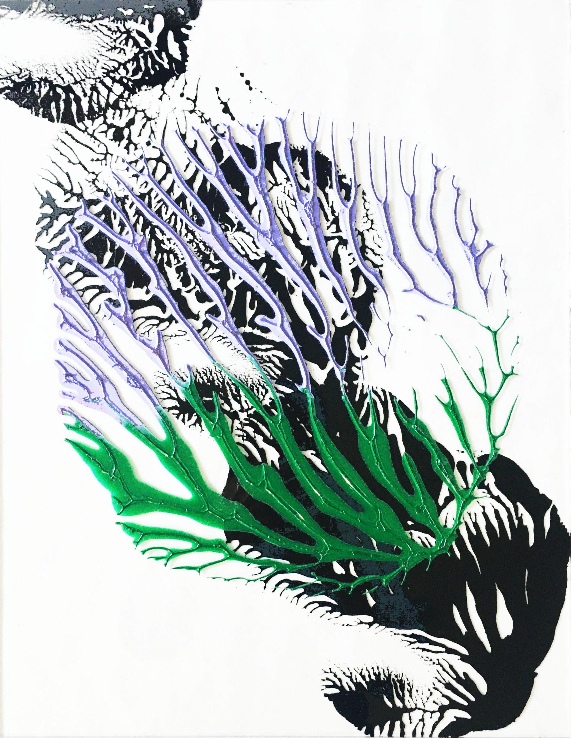 "Abstracts: ""Imprints, Flower3"", acrylics on trasparent Plexy,41x32 cm,2021"