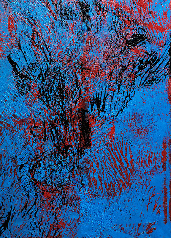 """Abstracts: """"Imprints, Tree"""", acrylics on canvas,100x70 cm,2021"""