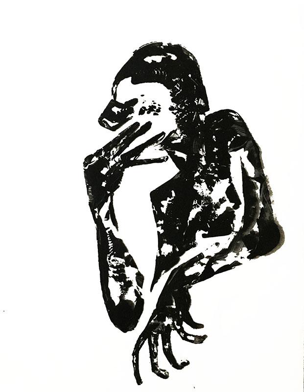 """Shadow: """"D"""" (2020), acrylic on clear smooth pvc, 70x100 cm"""