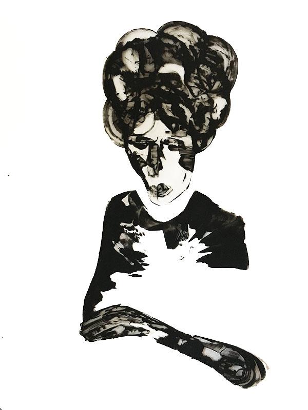 """Shadow: """"E"""" (2020), acrylic on clear smooth pvc, 70x100 cm"""