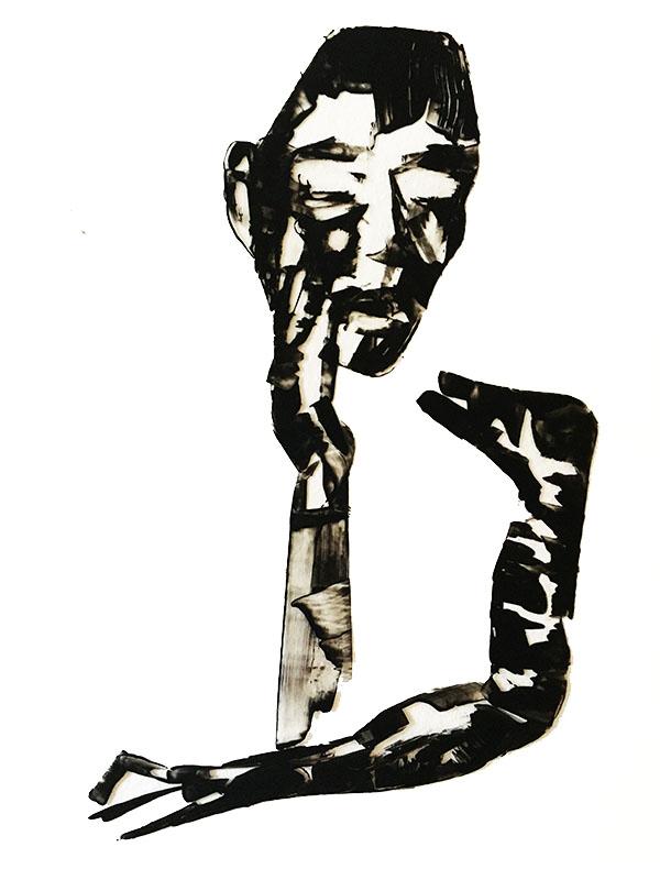 """Shadow: """"F"""" (2020), acrylic on clear smooth pvc 70x100 cm"""
