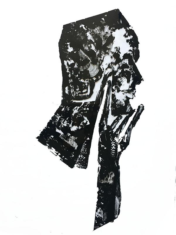 "Shadow: ""G"" (2020), acrylic on pvc, 70x100 cm"