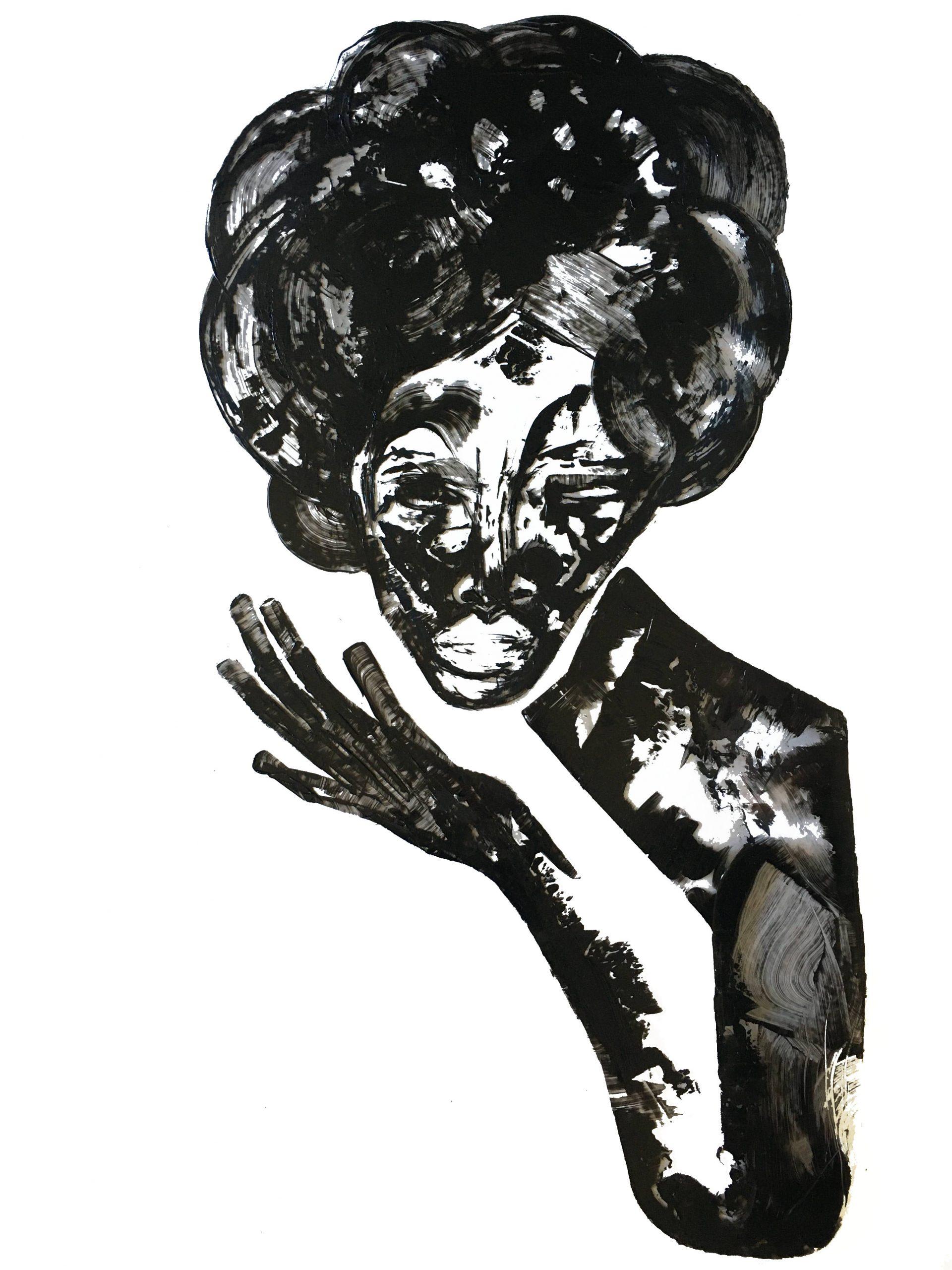 """Shadow: """"L"""" (2021), acrylic on clear smooth PVC, 70x100 cm"""