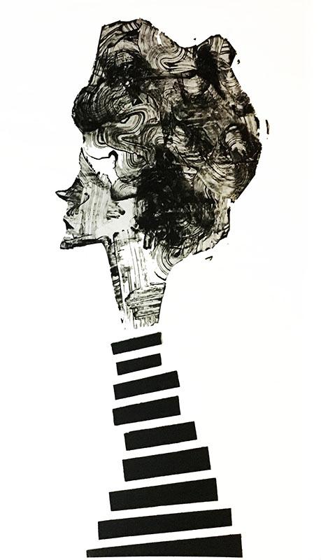 "Shadow: ""11"" (2018), acrylic on pvc, 140x100 cm"