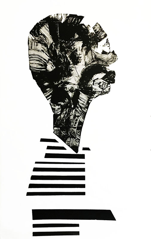 "Shadow: ""12"" (2018), acrylic on clear smooth pvc, 140x100 cm"