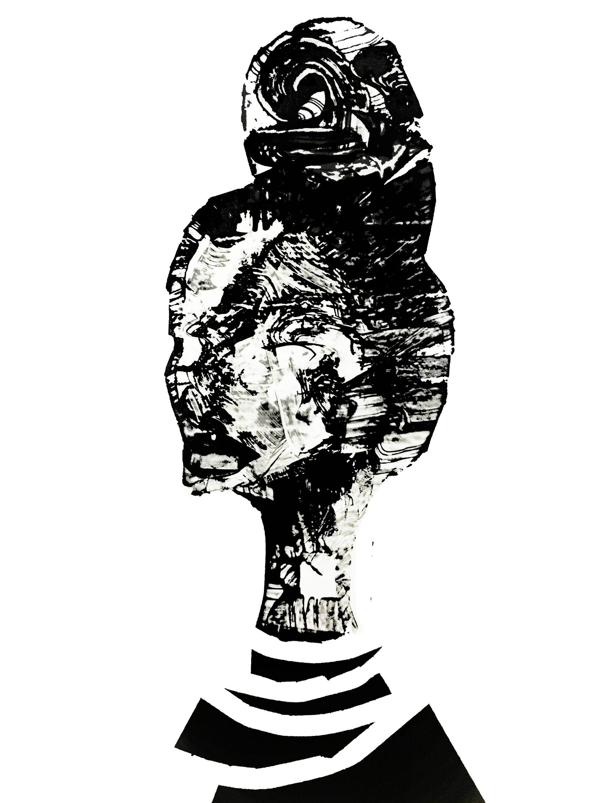 "Shadow: ""10"" (2020), acrylic on clear smooth pvc, 70x100 cm"