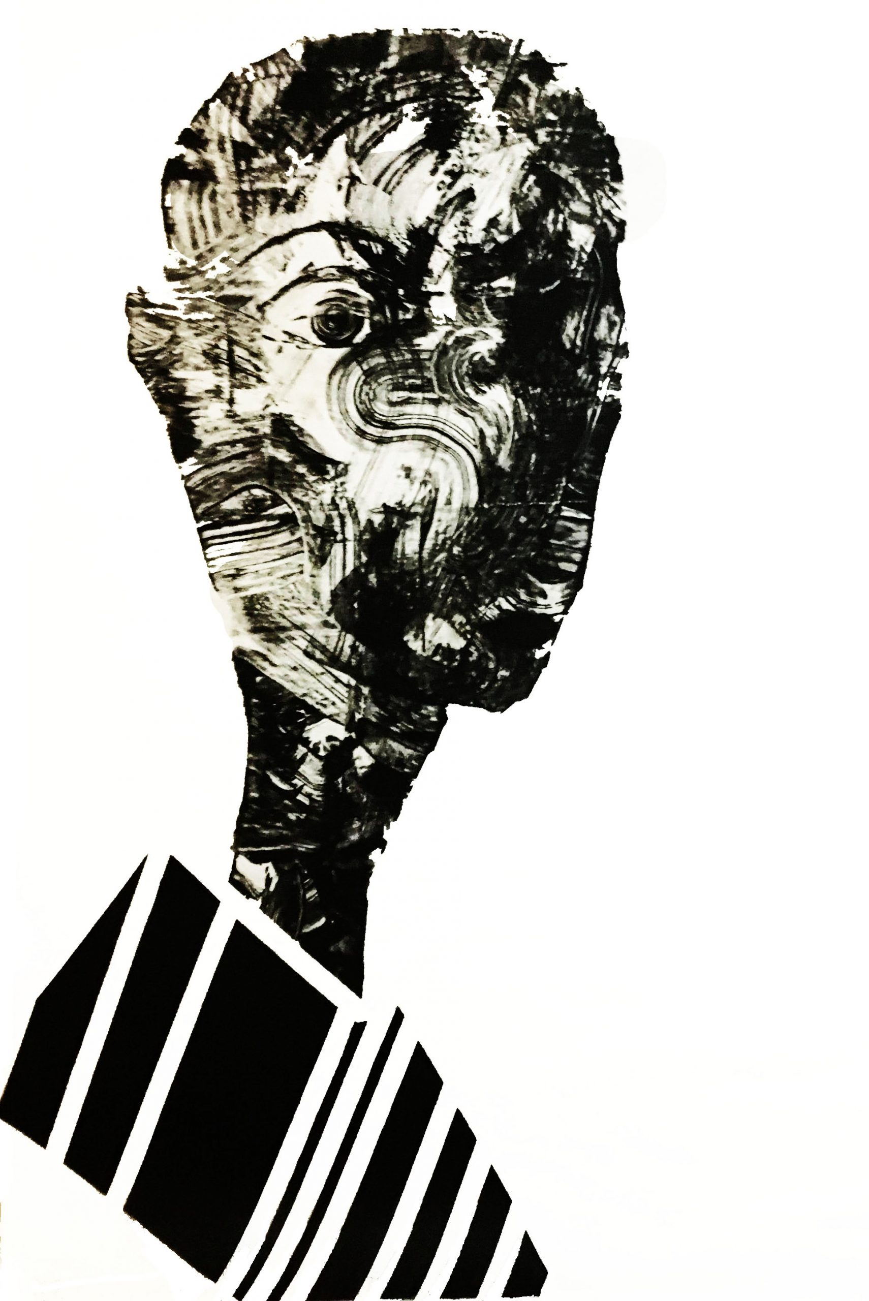 "Shadow: ""9"" (2018), acrylic on transparent pvc, 100x140 cm"