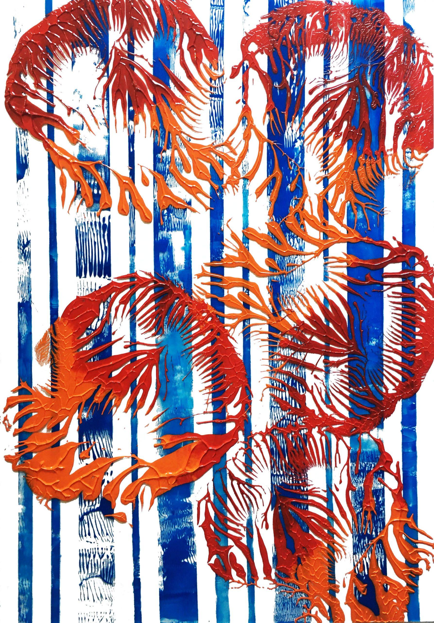 "Abstracts: ""Imprints, Sea"", acrylics on trasparent Plexy,70x100 cm,2021"