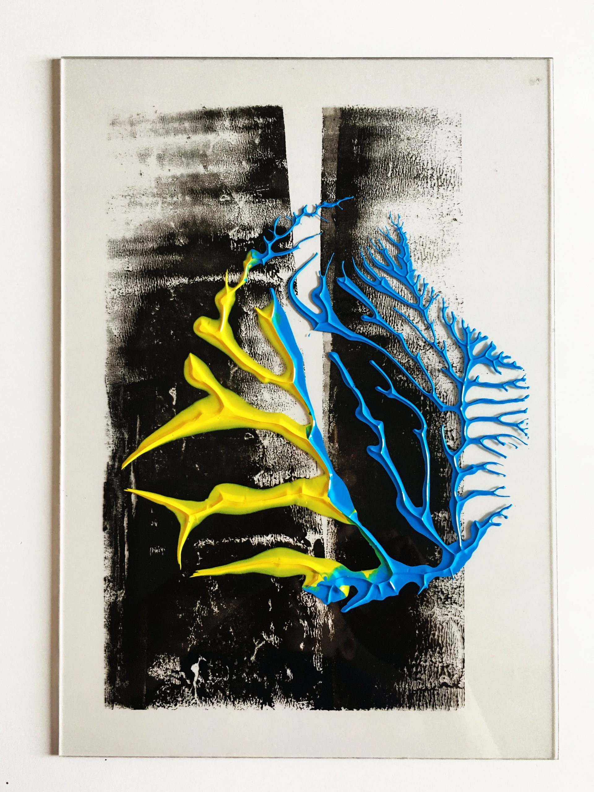 "Abstracts: ""Yellow, Blue Imprints"", acrylics on trasparent Plexy,21 x 29,7 cm,2021"