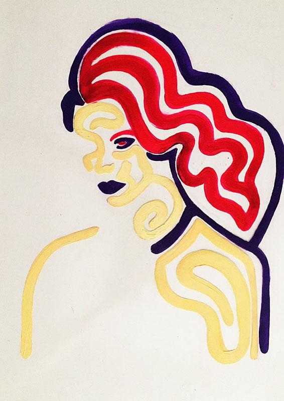 "Stripe: ""L"" 2020, acrylics on pvc, 30x42cm"