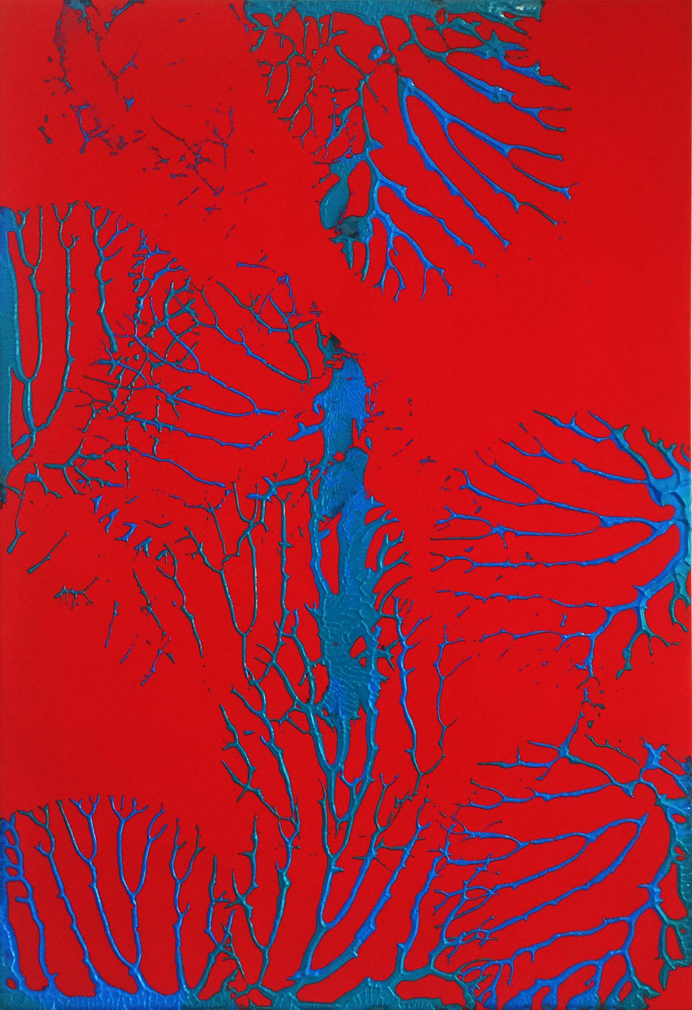 "Abstracts: ""Imprints, Vein"", acrylics on canvas,100x70 cm,2021"