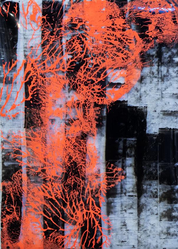 "Abstracts:Imprints,"" City, Orange"", acrylics on transparent plexi,100x70 cm,2021"