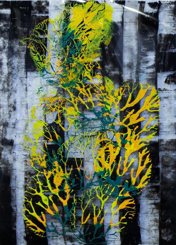 "Abstracts,Imprints,"" City, Yellow"", acrylics on transparent plexi,100x70 cm,2021"