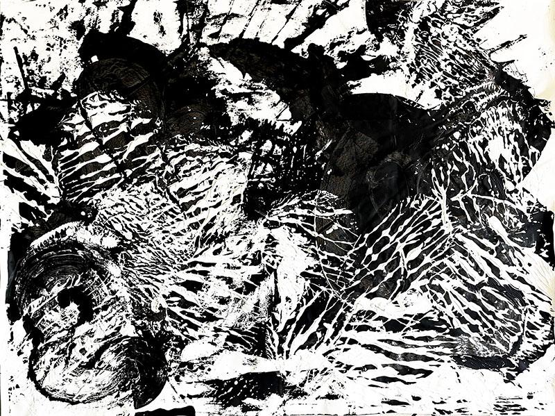 "Abstracts: ""Imprints, Animal2"", acrylics on cardboard,152x112 cm,2021"
