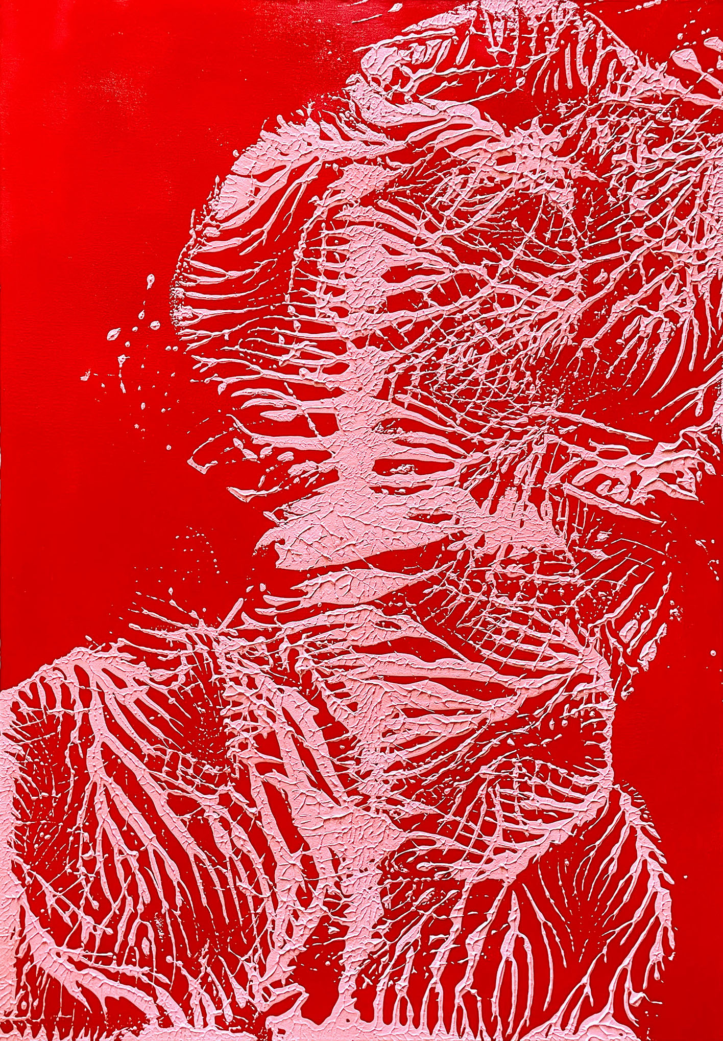 """Abstracts: """"Imprints,"""" Red and Pink"""""""", acrylics on canvas,100x70 cm,2021"""